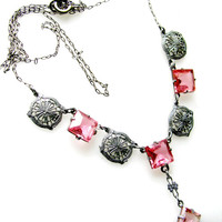 Art Deco Y Necklace, Faceted Pink Czech Glass, Silver Filigree, Lavalier Drop