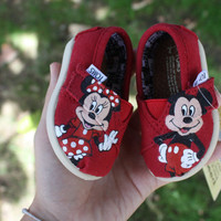 "Mickey and Minnie Mouse ""Tiny Toms"" Original Custom Acrylic Painting for Toms Shoes"