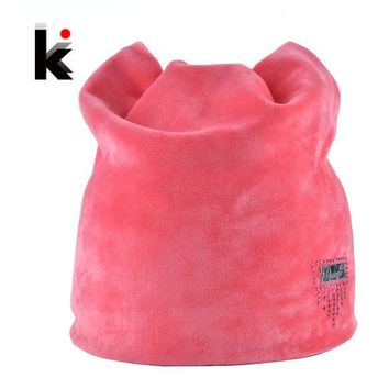 ESBU3C 2016 Winter Beanie Hat Ladies Cat Girls Hats For Women Beanies Fluff Caps Russia Skullies Touca Cap With Ear Flaps