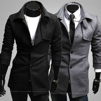 New Men Fashion Slim Wool Coat