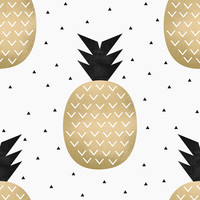 Gold Pineapple Removable Wallpaper