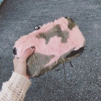 ICEV 2017 new winter fur rabbit women bag designer envelope small evening party bags camouflage faux fur ladies day clutch purse