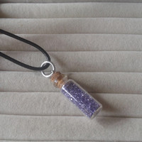 Closing sale - fantasy purple  fairy dust bottle  charm  pendant necklace