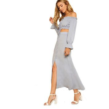 Blue Tie Crop Bardot Top & Buttoned Skirt Set 2018 Sexy Women Off The Shoulder Long Sleeve Button Plain 2 Pieces Sets