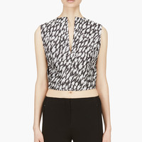 Mugler Black And White Leopard Jacquard Crop Top