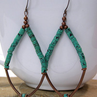 Turquoise Hoop Earrings  by StoneWearDesigns