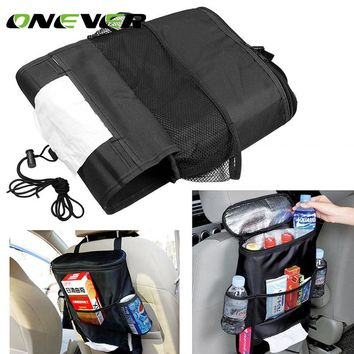 Universal Car Seat Back Organizer Insulation Bag Auto Seat Back Warmer/Cooler Organizer Bag with Tissue Box Drinks Holder