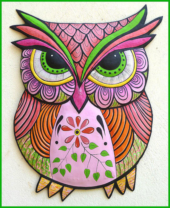 Painted Metal Pink Owl Wall Hanging, from Tropic Accents
