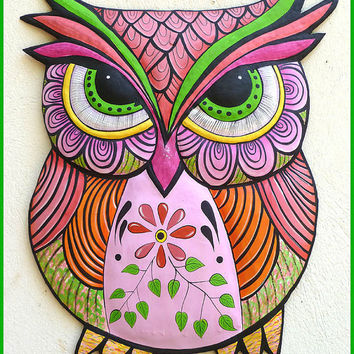 Painted Metal Pink Owl Wall Hanging, Whimsical Art Design, Funky Art, Metal Wall Art, Haitian Art, Folk Art, Outdoor Patio Decor - J-352-PK