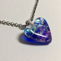 HEART PENDANT with Dichroic  Blue, Pink, Teal and Green Dichroic Glass - Fused Glass Jewelry