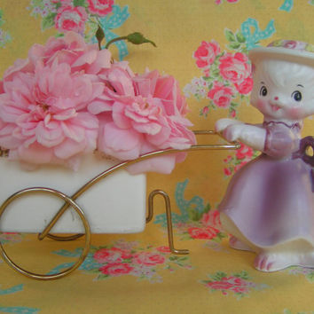 Adorable...Vintage Kitty Cat with Flower Cart Ceramic Planter..so very sweet.