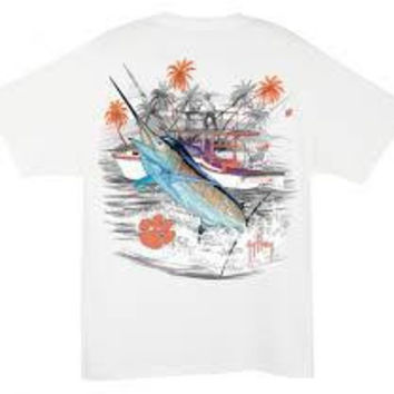 NCAA Clemson Tigers Mens White Collegiate Boat Guy Harvey T-Shirt