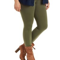 Plus Size Olive Stretch Cotton Leggings by Charlotte Russe