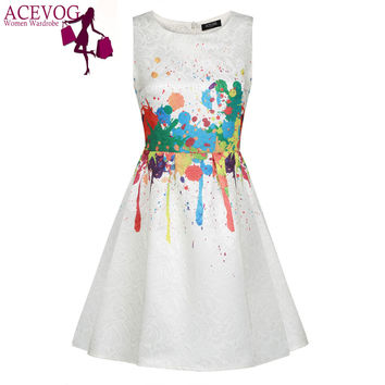 ACEVOG Women casual Elegant Dress Sleeveless sexy vestidos Summer dresses 1950s 60s Floral Swing Vintage Rockabilly Print Dress
