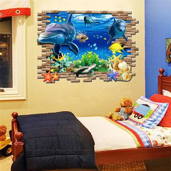 Sea Dolphin Ocean Window Fish underwater 3d Wall Stickers for Kids Room Decoration sticker decals Bathroom Decoration
