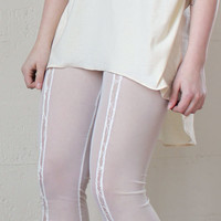 Sheer Mesh Leggings - sheer, ivory lace insert, minimal romantic - small