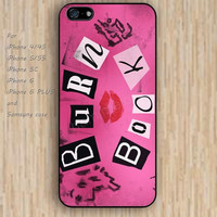 iPhone 5s 6 case burn book kiss colorful phone case iphone case,ipod case,samsung galaxy case available plastic rubber case waterproof B371