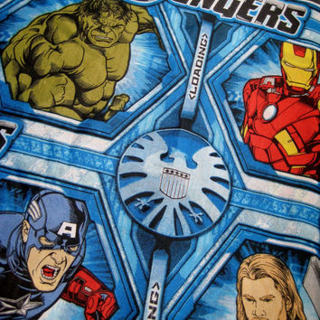 Avengers Marvel Comic Hero Hulk Captain America Bedding Flat Sheet Twin Size Boy Kid Craft Bed Fabric Material Gently Used Clean