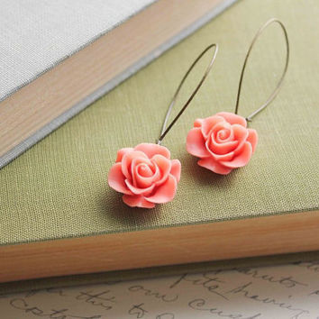 Coral Rose Earrings Shabby Chic Jewelry Floral by apocketofposies