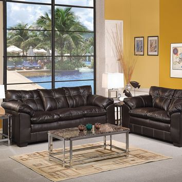Acme 50350-51 2 pc hayley onyx bonded leather sofa and love seat set