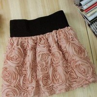 Rose Mini Lace Skirt with Wide Elastic Waistband