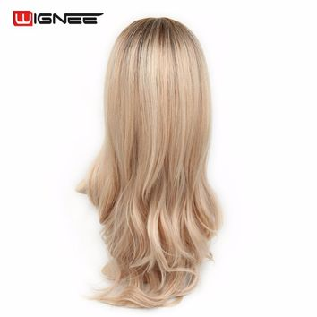 Wignee Middle Part Synthetic Women Wavy Cosplay Wigs Ombre Color Brown White Blonde High Temperature Halloween Natural Hair Wigs