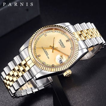Luxury Watch Men 36mm Parnis Japan 21 Jeweles 316L Stainless Steel Automatic Movement Gold Mechanical Men's Wristwatch