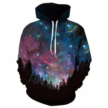 Celestial Star Night Sky Outer Space Galaxy Astronomy Palm Trees Hoodie Sweater