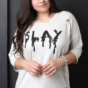 Distressed Melted Slay Top