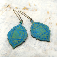 Ethnic earrings Blue Verdigris Patina Ethnic by Gypsymoondesigns