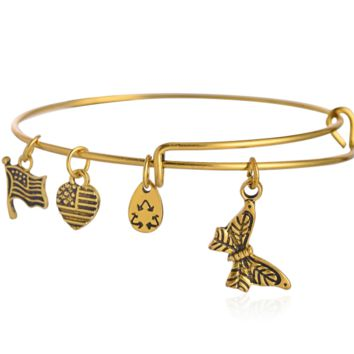 Alex and Ani  style butterfly pattern pendant charm bracelet