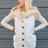 Aspen Slopes Ivory Button Down Fur Lined Vest With Pockets