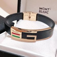 "Hot Sale ""GUCCI"" Fashion Women Men Leather High End Couple Stainless Steel Bracelet(4-Color) I-KMG-NPSL"