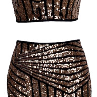 Dayla Two Piece Geometric Sequin Dress Set, Brown - ONLY 1 LEFT!
