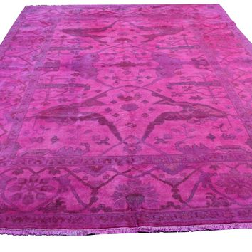 8x10 Overdyed Hot Pink Rug Turkish Ushak 100% Wool 2935