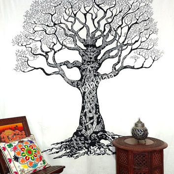 Hippie Tree of life Wall Hanging, tree of life Tapestry, Mandala Tapestries, Modern Tree of life Wall Decore Art Tree of life Bedcover Throw