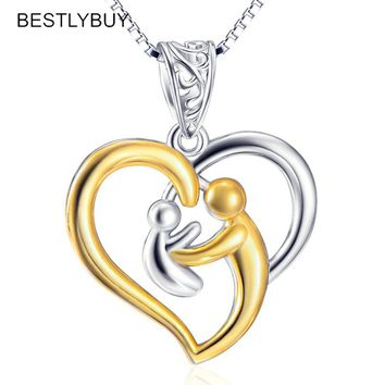 I love my Mother love you Daughter 925 Sterling Silver Chain Pendant Necklace Fine Jewelry Mother & Child Necklaces & Pendants