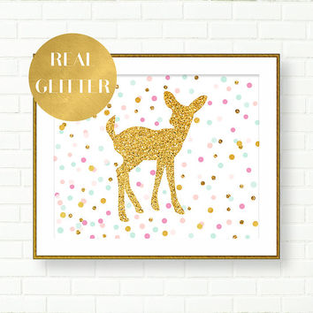 Baby Girl Nursery Art Print, Fawn Print, Gold Glitter, Pink, Gold, Girl Room Art, Pastel, Confetti, Kids Wall Art, Shiny, Baby Shower