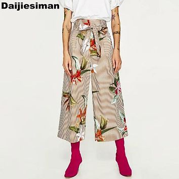 Vintage Floral Pattern Print Sashes Bow Tied Loose Wide Leg Pants Trousers High Waist Capris Calf-Length Women Brand Streetwear
