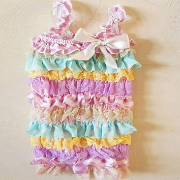 Blue Floral Petti Ruffle Baby Lace Romper 1st Birthday Cake Smash Outfit 21 Colors