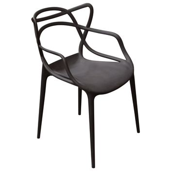 Newton 4-Pack Indoor/Outdoor Accent Chairs in Black Polypropylene (PP)