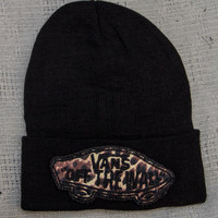 Black Fleece- Lined Beanie with Hand-sewn VANS cheetah print embroidered patch