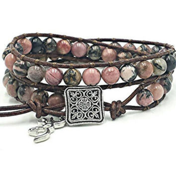 leather wrap bracelet, beaded leather wrap, gemstone leather wrap bracelet, rhodonite bracelet, pink camo, country girl, browning, buckmark