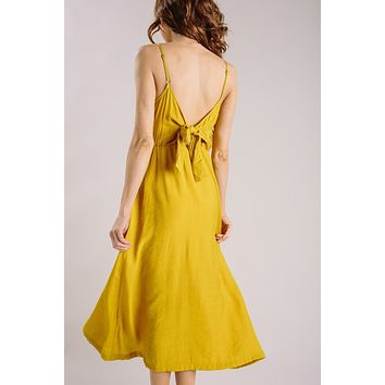 Melanie Mustard Button Midi Dress