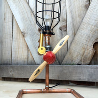 Industrial Aviation Lamp, Vintage RC Airplane Parts & Copper Pipe, Airplane Themed Bedroom, Aviation Enthusiast, Gift for Pilot, Man Cave