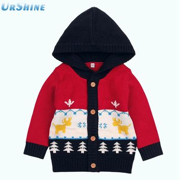 Baby Boys Knitted Sweater Cardigans Newborn Winter Thermal Sweater Jackets Autumn Toddler Girls Knitwear With Hood Button Up