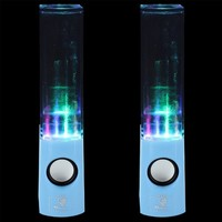 Skque® 3.5mm USB Dancing Water Show LED Light Music Fountain Speaker For PC Laptop Cellphone MP3 MP4,BLUE