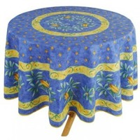"72"" Round Cigales Locusts Plain Cotton Tablecloth on Blue * In Plain or Coated Cotton"