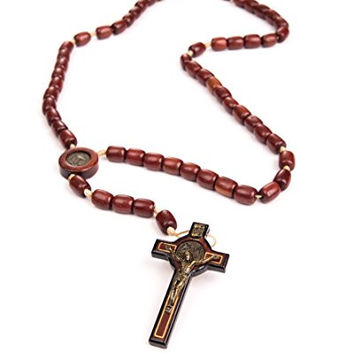 Cherry Wood Beads St Benedict Catholic Necklace Medal and Crucifix - Made in Brazil