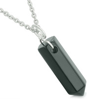 Amulet Lucky Crystal Point Spiritual Protection Powers Wand Charm Black Agate Pendant 22 inch Necklace